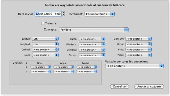 Ventana con las opciones para anotar waypoints del plotter al cuaderno