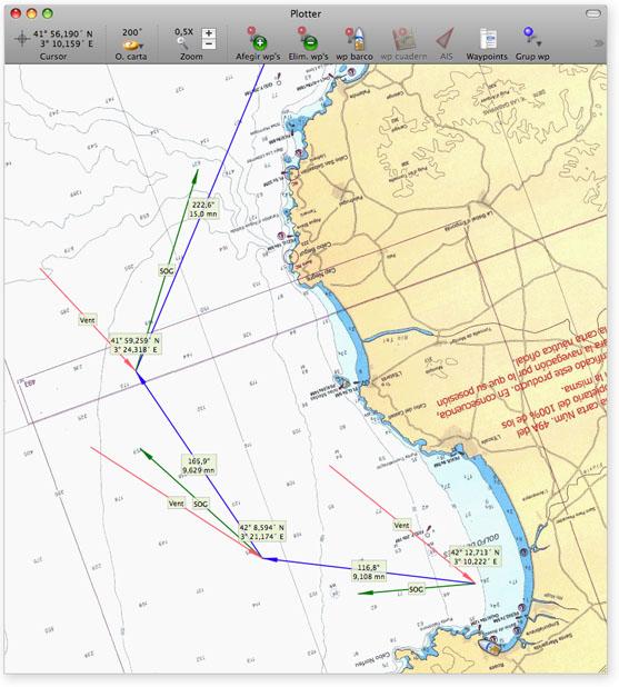Ejemplo de ruta dibujada en el plotter, con vectores de viento y SOG en cada waypoint