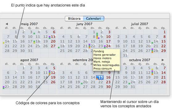 Vista de calendario del cuaderno